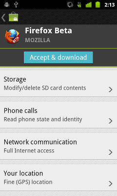 """Firefox Beta permissions: Storage, Phone calls, Network   communication, Your location"""